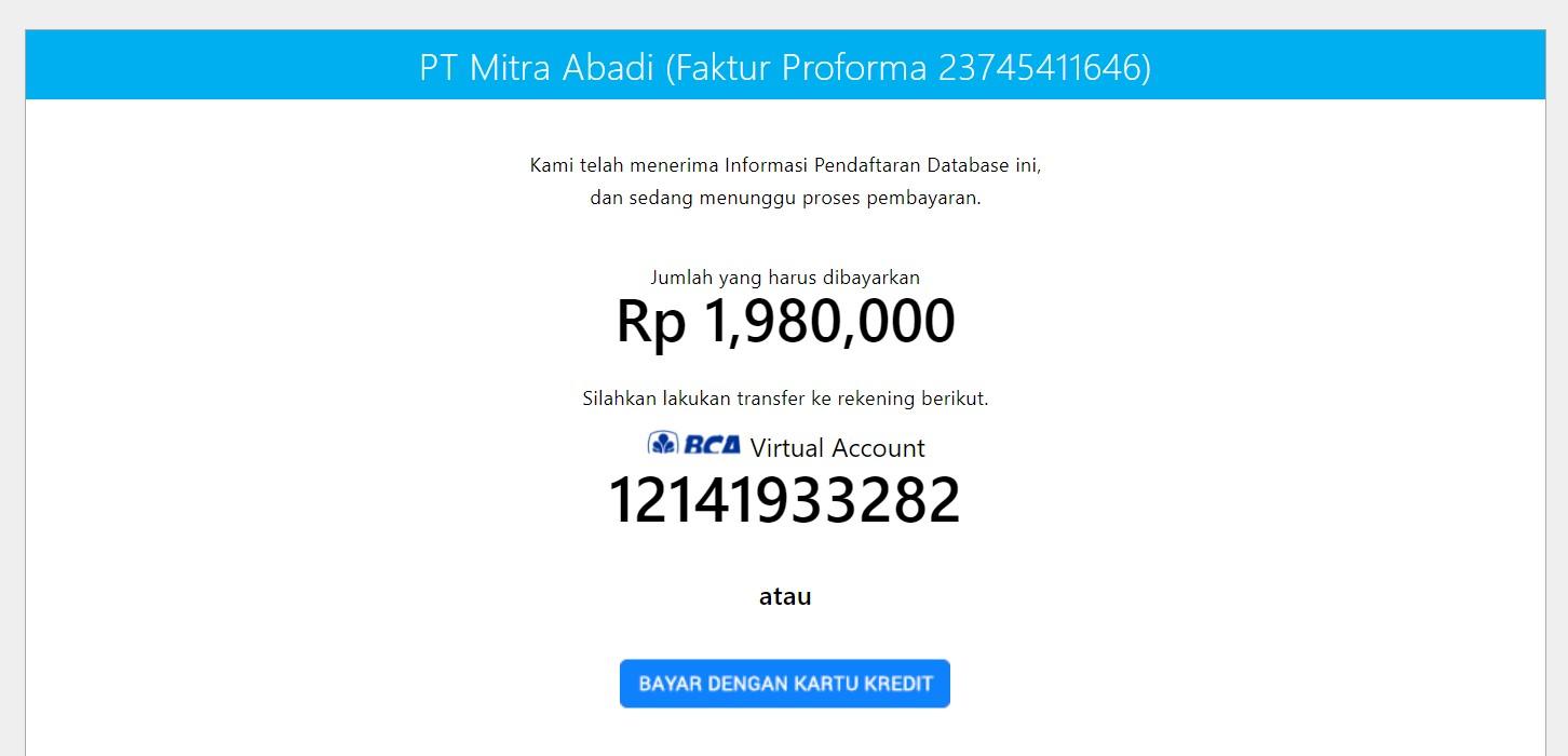 informasi pembayaran accurate online