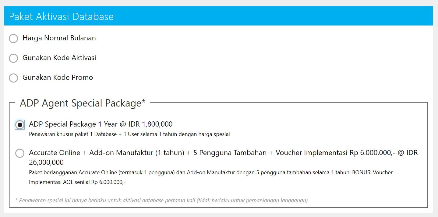 Paket aktivasi database accurate online